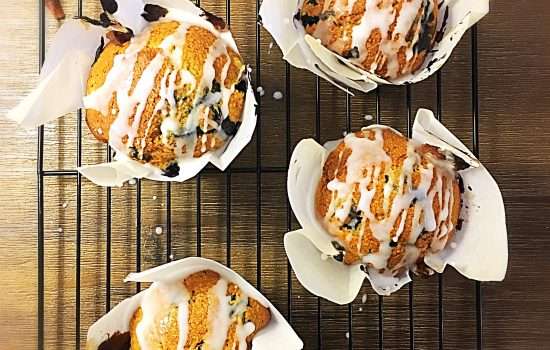 Blueberry Muffins with Thyme Glaze