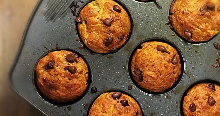 Banana Zucchini Carrot Chocolate Chip Muffins