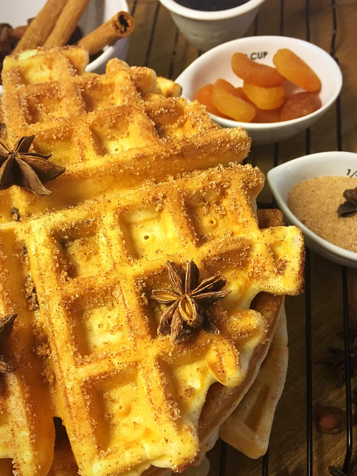 raisin cinnamon sugar waffles