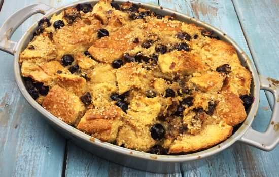 Bread Pudding loaded with dates and blueberries