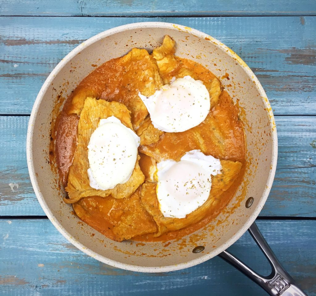 pork cutlets with poached eggs